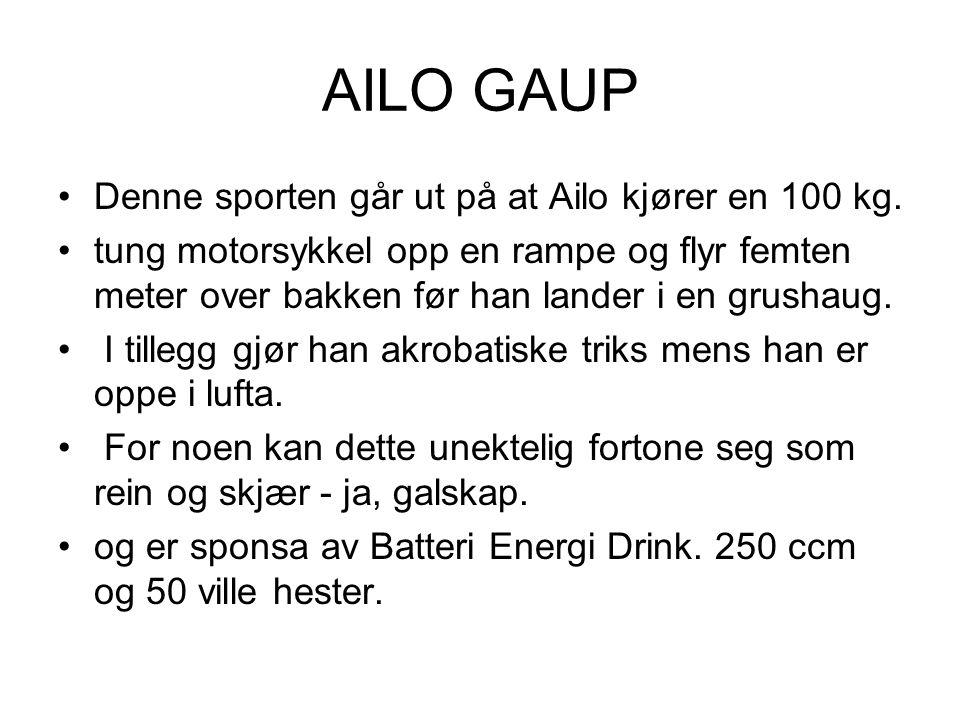 AILO GAUP Denne sporten går ut på at Ailo kjører en 100 kg. tung motorsykkel opp en rampe og flyr femten meter over bakken før han lander i en grushau