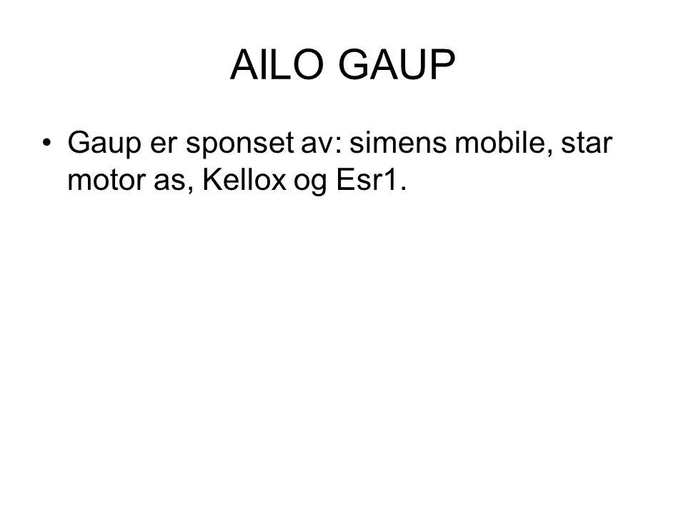 AILO GAUP Gaup er sponset av: simens mobile, star motor as, Kellox og Esr1.