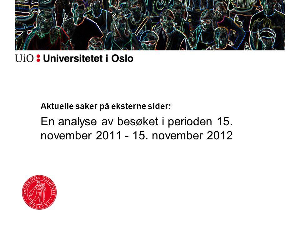 Aktuelle saker på eksterne sider: En analyse av besøket i perioden 15. november 2011 - 15. november 2012