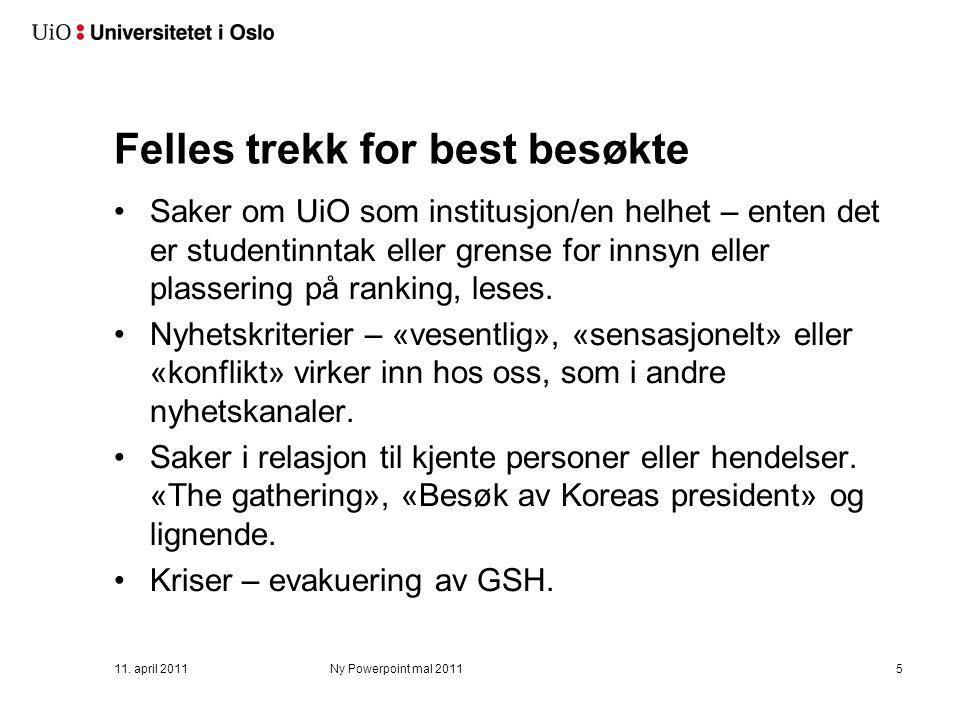 Dårligst besøkte Fem på bunn: –Rodeløkkas-meteoritten til NHM - 1 besøk –Henrik Bull-arr.