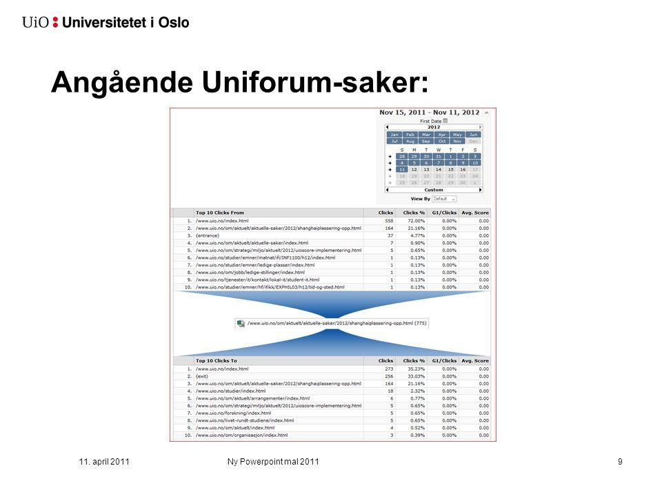 Angående Uniforum-saker: 11. april 2011Ny Powerpoint mal 20119
