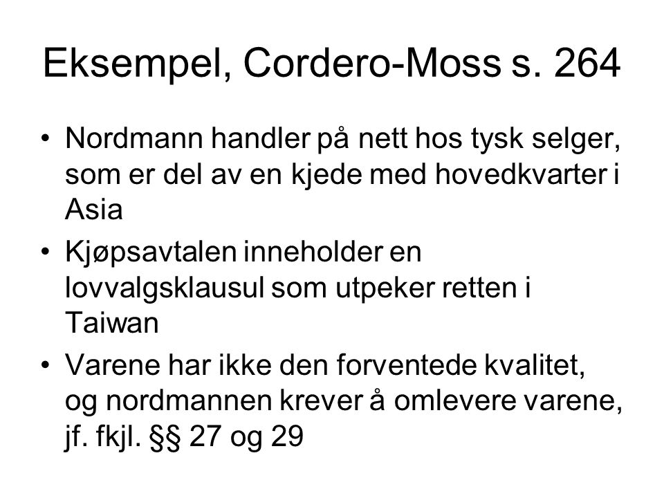 Eksempel, Cordero-Moss s.
