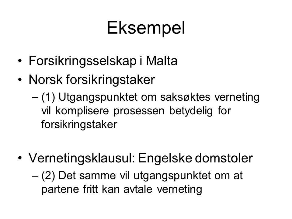 Eksempel Forsikringsselskap i Malta Norsk forsikringstaker –(1) Utgangspunktet om saksøktes verneting vil komplisere prosessen betydelig for forsikringstaker Vernetingsklausul: Engelske domstoler –(2) Det samme vil utgangspunktet om at partene fritt kan avtale verneting