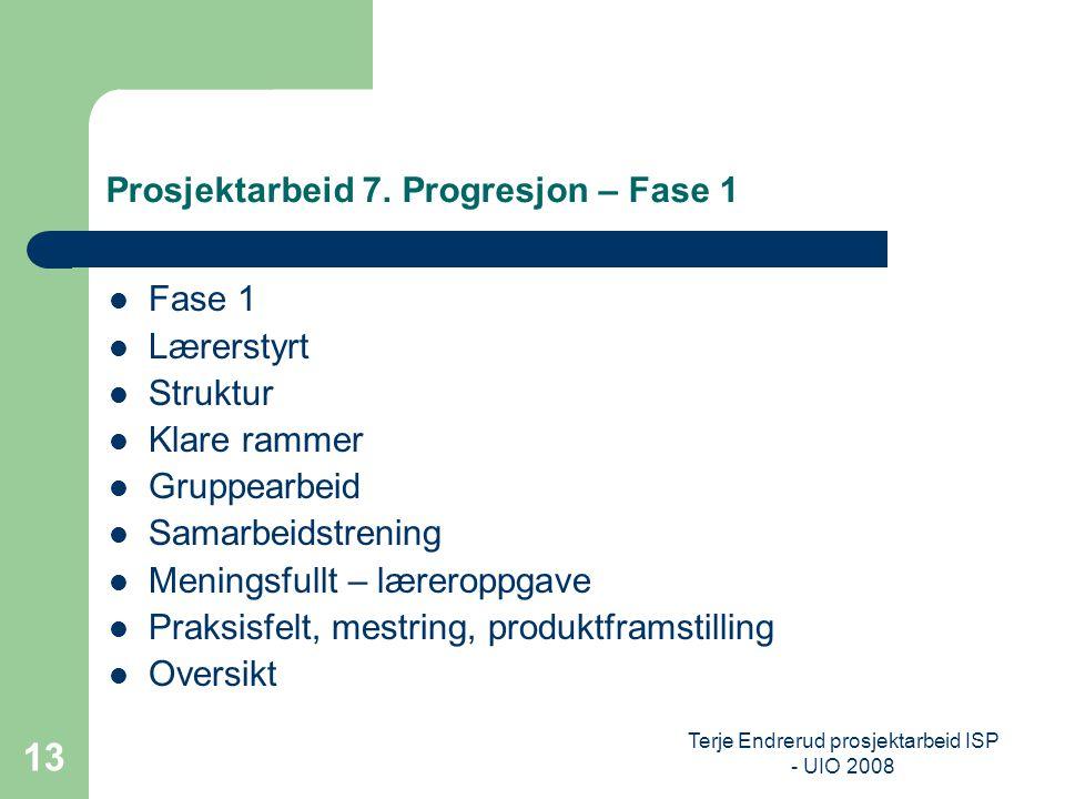 Terje Endrerud prosjektarbeid ISP - UIO 2008 13 Prosjektarbeid 7. Progresjon – Fase 1 Fase 1 Lærerstyrt Struktur Klare rammer Gruppearbeid Samarbeidst