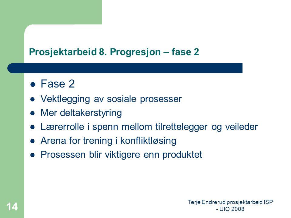 Terje Endrerud prosjektarbeid ISP - UIO 2008 14 Prosjektarbeid 8. Progresjon – fase 2 Fase 2 Vektlegging av sosiale prosesser Mer deltakerstyring Lære