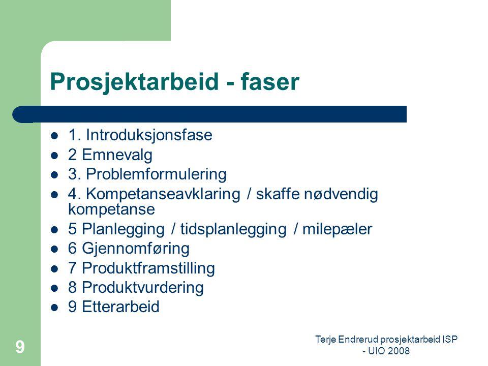 Terje Endrerud prosjektarbeid ISP - UIO 2008 9 Prosjektarbeid - faser 1. Introduksjonsfase 2 Emnevalg 3. Problemformulering 4. Kompetanseavklaring / s
