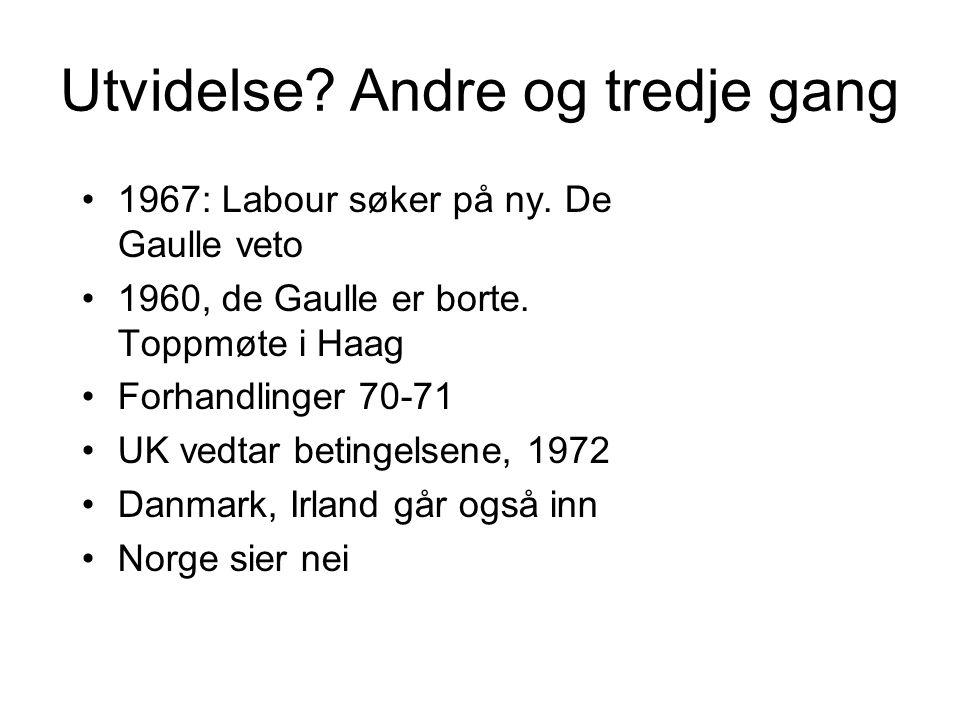 Folkeavstemninger Frankrike: 60 % ja til utvidelse Irland: 83 % ja til medlemskap Norge: 54 % nei til medlemskap Danmark: 63 % ja til medlemskap 1974-75: Britene reforhandler avtalen –Mindre bidrag til budsjettet –Større overføringer –Folkeavstemning 1975: 67% ja til fortsatt medlemskap