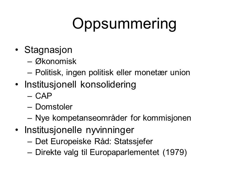 Oppsummering Stagnasjon –Økonomisk –Politisk, ingen politisk eller monetær union Institusjonell konsolidering –CAP –Domstoler –Nye kompetanseområder for kommisjonen Institusjonelle nyvinninger –Det Europeiske Råd: Statssjefer –Direkte valg til Europaparlementet (1979)