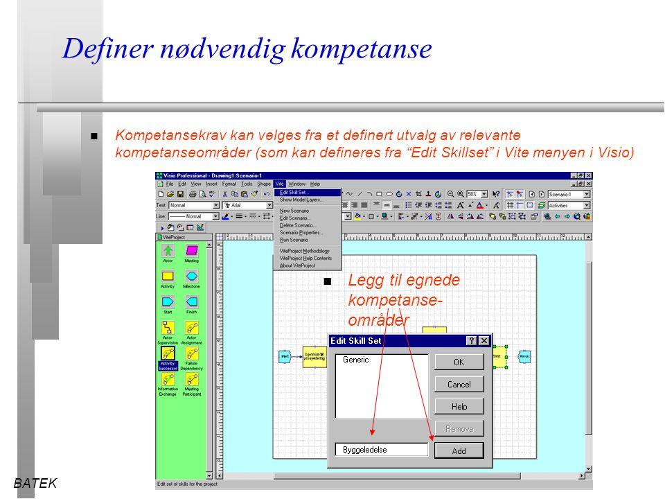 BATEK28.03.2015 Definer nødvendig kompetanse n Kompetansekrav kan velges fra et definert utvalg av relevante kompetanseområder (som kan defineres fra