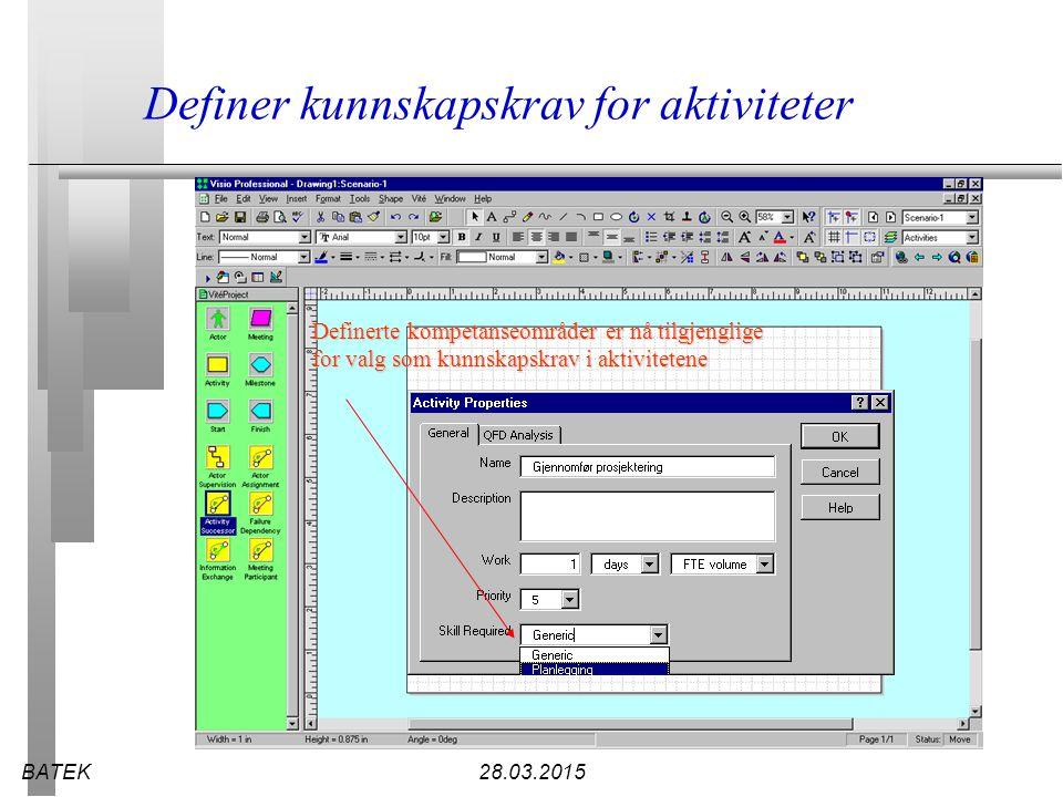 BATEK28.03.2015 Definer kunnskapskrav for aktiviteter Definerte kompetanseområder er nå tilgjenglige for valg som kunnskapskrav i aktivitetene