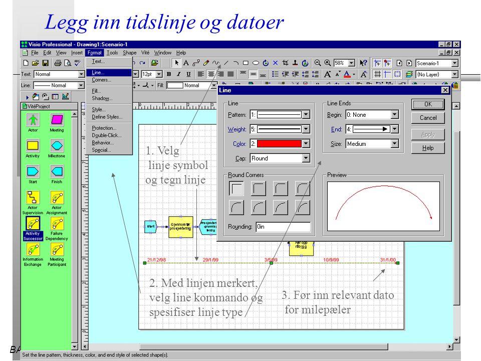 BATEK28.03.2015 Legg inn tidslinje og datoer 1. Velg linje symbol og tegn linje 2. Med linjen merkert, velg line kommando og spesifiser linje type 3.