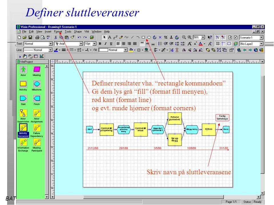 """BATEK28.03.2015 Definer sluttleveranser Definer resultater vha. """"rectangle kommandoen"""" Gi dem lys grå """"fill"""" (format fill menyen), rød kant (format li"""