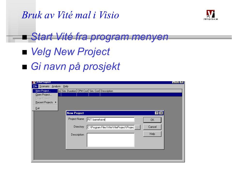 BATEK28.03.2015 Bruk av Vité mal i Visio n Start Vité fra program menyen n Velg New Project n Gi navn på prosjekt
