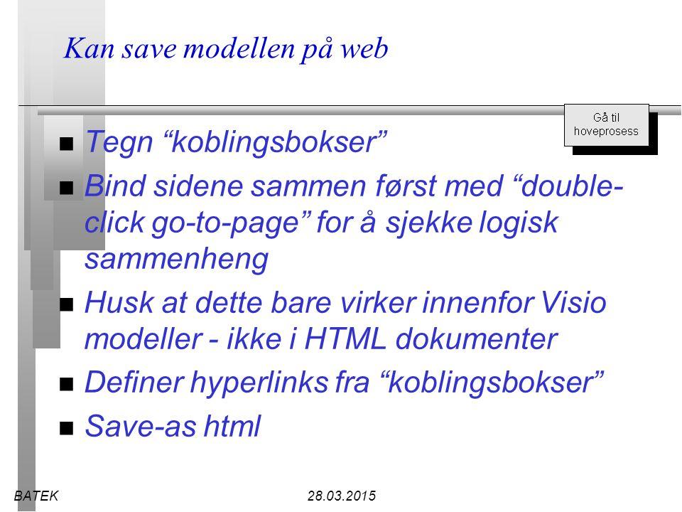 """BATEK28.03.2015 Kan save modellen på web n Tegn """"koblingsbokser"""" n Bind sidene sammen først med """"double- click go-to-page"""" for å sjekke logisk sammenh"""