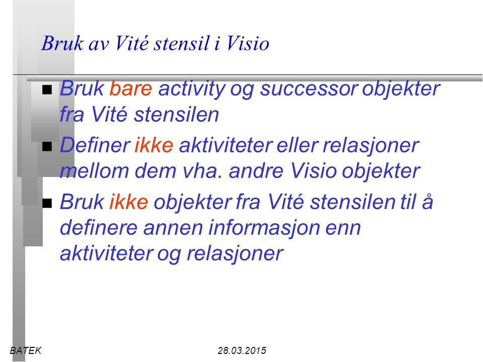 BATEK28.03.2015 Bruk av Vité stensil i Visio n Bruk bare activity og successor objekter fra Vité stensilen n Definer ikke aktiviteter eller relasjoner