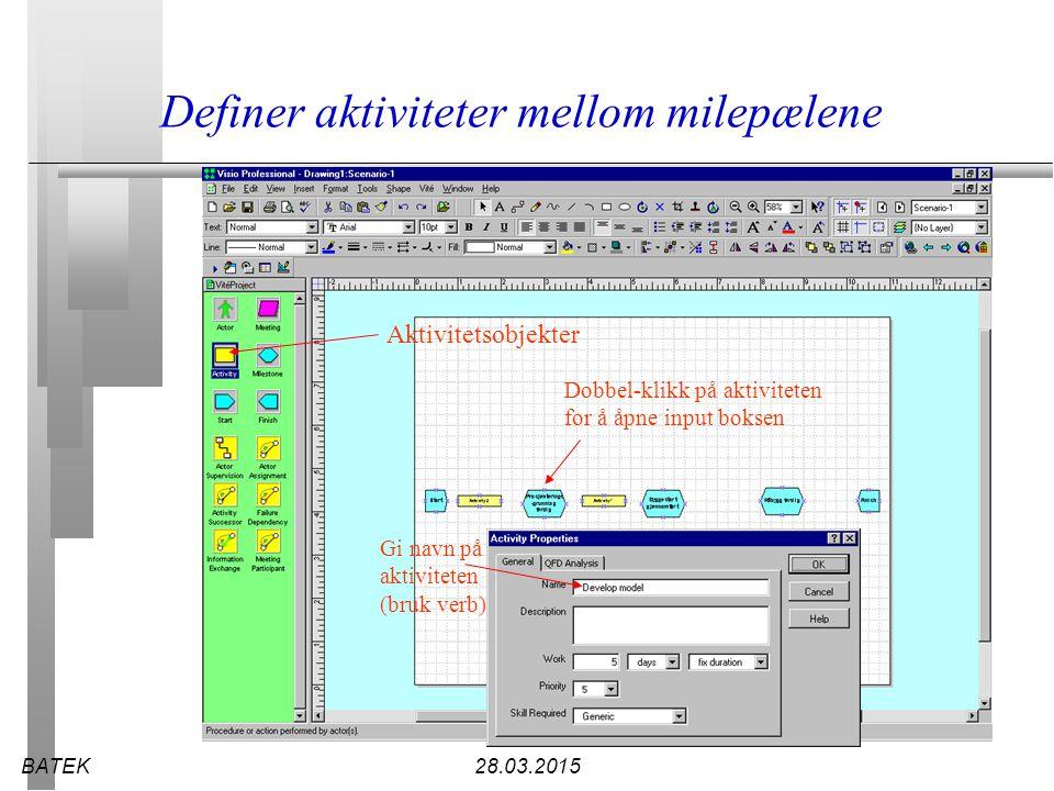 BATEK28.03.2015 Definer aktiviteter mellom milepælene Gi navn på aktiviteten (bruk verb) Dobbel-klikk på aktiviteten for å åpne input boksen Aktivitet