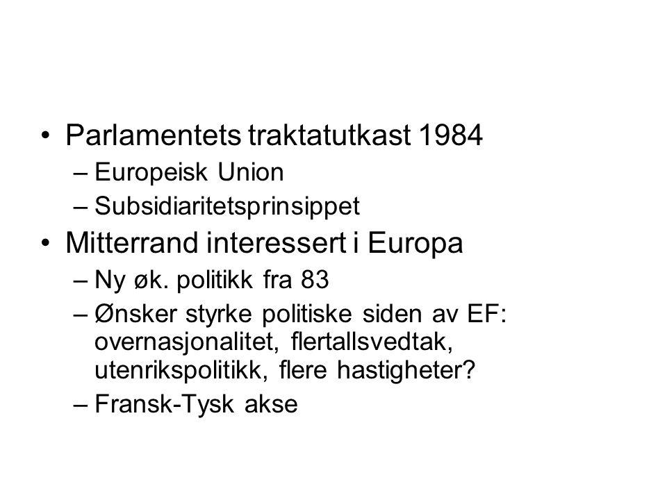 Parlamentets traktatutkast 1984 –Europeisk Union –Subsidiaritetsprinsippet Mitterrand interessert i Europa –Ny øk. politikk fra 83 –Ønsker styrke poli