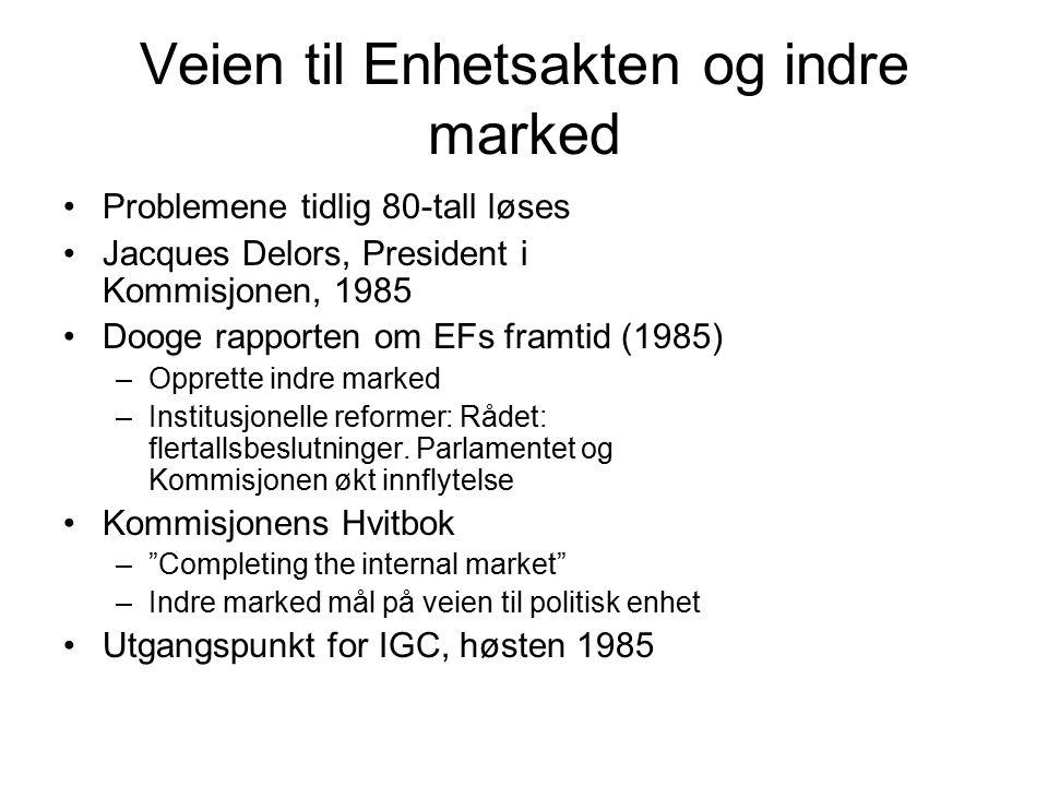 Veien til Enhetsakten og indre marked Problemene tidlig 80-tall løses Jacques Delors, President i Kommisjonen, 1985 Dooge rapporten om EFs framtid (1985) –Opprette indre marked –Institusjonelle reformer: Rådet: flertallsbeslutninger.