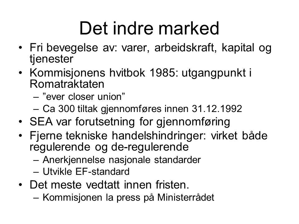 """Det indre marked Fri bevegelse av: varer, arbeidskraft, kapital og tjenester Kommisjonens hvitbok 1985: utgangpunkt i Romatraktaten –""""ever closer unio"""