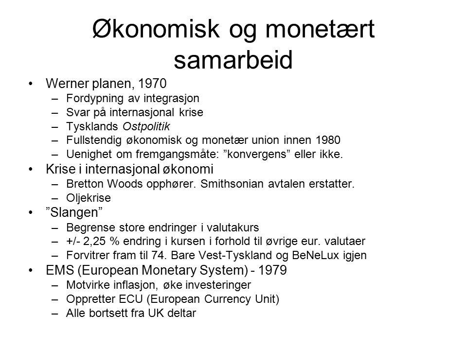 Økonomisk og monetært samarbeid Werner planen, 1970 –Fordypning av integrasjon –Svar på internasjonal krise –Tysklands Ostpolitik –Fullstendig økonomi