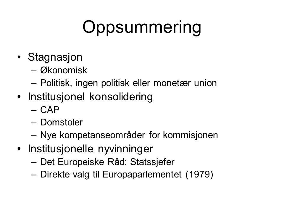 Oppsummering Stagnasjon –Økonomisk –Politisk, ingen politisk eller monetær union Institusjonel konsolidering –CAP –Domstoler –Nye kompetanseområder for kommisjonen Institusjonelle nyvinninger –Det Europeiske Råd: Statssjefer –Direkte valg til Europaparlementet (1979)