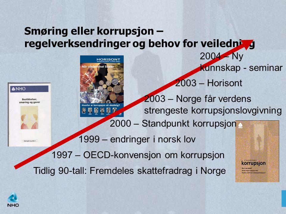 Smøring eller korrupsjon – regelverksendringer og behov for veiledning Tidlig 90-tall: Fremdeles skattefradrag i Norge 1997 – OECD-konvensjon om korru
