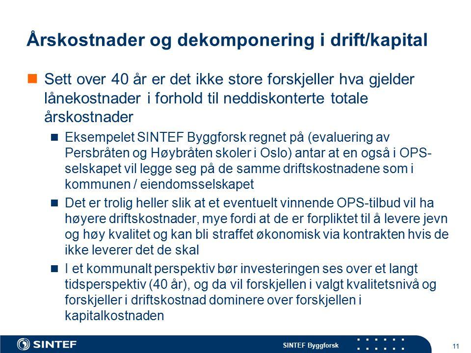 SINTEF Byggforsk Årskostnader og dekomponering i drift/kapital Sett over 40 år er det ikke store forskjeller hva gjelder lånekostnader i forhold til neddiskonterte totale årskostnader Eksempelet SINTEF Byggforsk regnet på (evaluering av Persbråten og Høybråten skoler i Oslo) antar at en også i OPS- selskapet vil legge seg på de samme driftskostnadene som i kommunen / eiendomsselskapet Det er trolig heller slik at et eventuelt vinnende OPS-tilbud vil ha høyere driftskostnader, mye fordi at de er forpliktet til å levere jevn og høy kvalitet og kan bli straffet økonomisk via kontrakten hvis de ikke leverer det de skal I et kommunalt perspektiv bør investeringen ses over et langt tidsperspektiv (40 år), og da vil forskjellen i valgt kvalitetsnivå og forskjeller i driftskostnad dominere over forskjellen i kapitalkostnaden 11