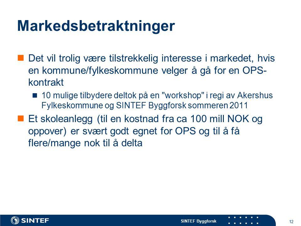 SINTEF Byggforsk Markedsbetraktninger Det vil trolig være tilstrekkelig interesse i markedet, hvis en kommune/fylkeskommune velger å gå for en OPS- ko