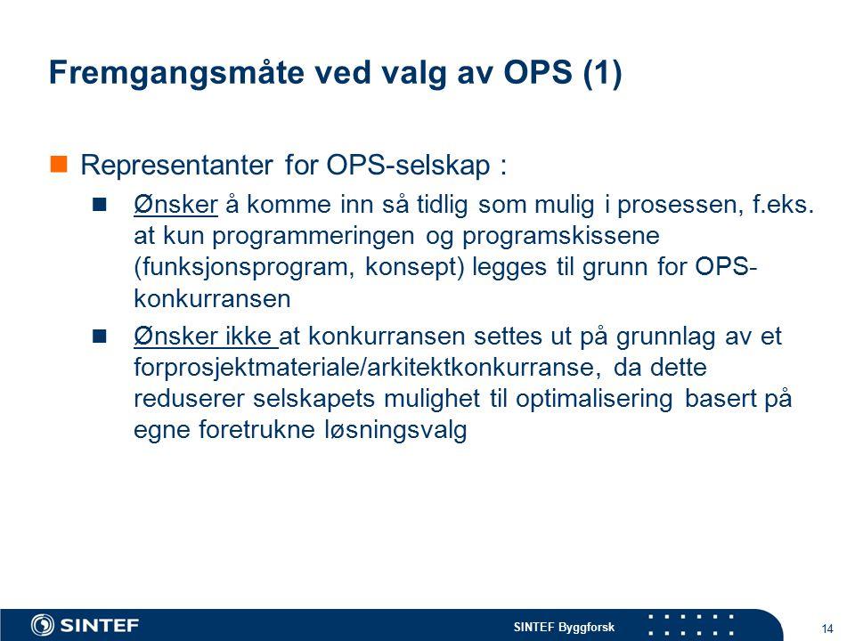 SINTEF Byggforsk Fremgangsmåte ved valg av OPS (1) Representanter for OPS-selskap : Ønsker å komme inn så tidlig som mulig i prosessen, f.eks. at kun
