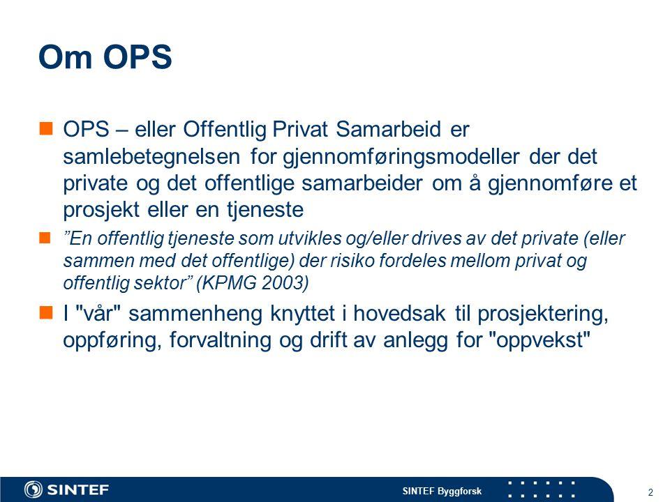 SINTEF Byggforsk Om OPS OPS – eller Offentlig Privat Samarbeid er samlebetegnelsen for gjennomføringsmodeller der det private og det offentlige samarb