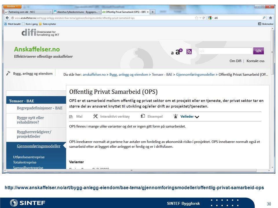 SINTEF Byggforsk 30 http://www.anskaffelser.no/art/bygg-anlegg-eiendom/bae-tema/gjennomforingsmodeller/offentlig-privat-samarbeid-ops