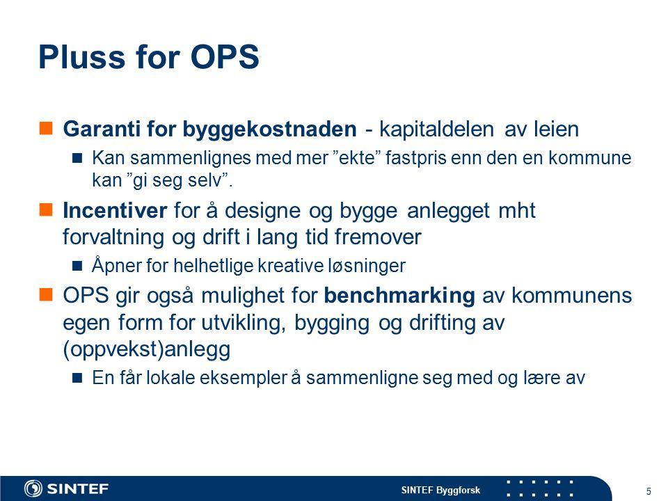 """SINTEF Byggforsk Pluss for OPS Garanti for byggekostnaden - kapitaldelen av leien Kan sammenlignes med mer """"ekte"""" fastpris enn den en kommune kan """"gi"""