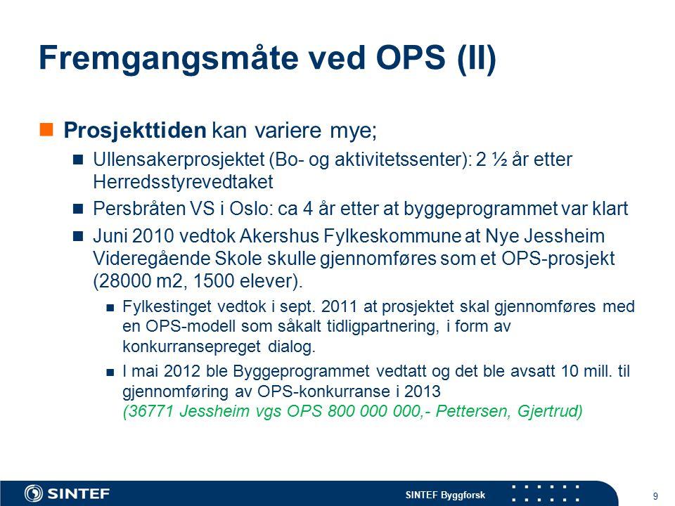 SINTEF Byggforsk Fremgangsmåte ved OPS (II) Prosjekttiden kan variere mye; Ullensakerprosjektet (Bo- og aktivitetssenter): 2 ½ år etter Herredsstyrevedtaket Persbråten VS i Oslo: ca 4 år etter at byggeprogrammet var klart Juni 2010 vedtok Akershus Fylkeskommune at Nye Jessheim Videregående Skole skulle gjennomføres som et OPS-prosjekt (28000 m2, 1500 elever).