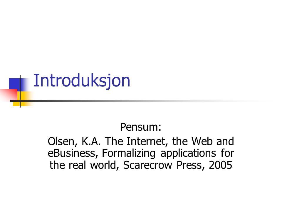 Introduksjon Pensum: Olsen, K.A.