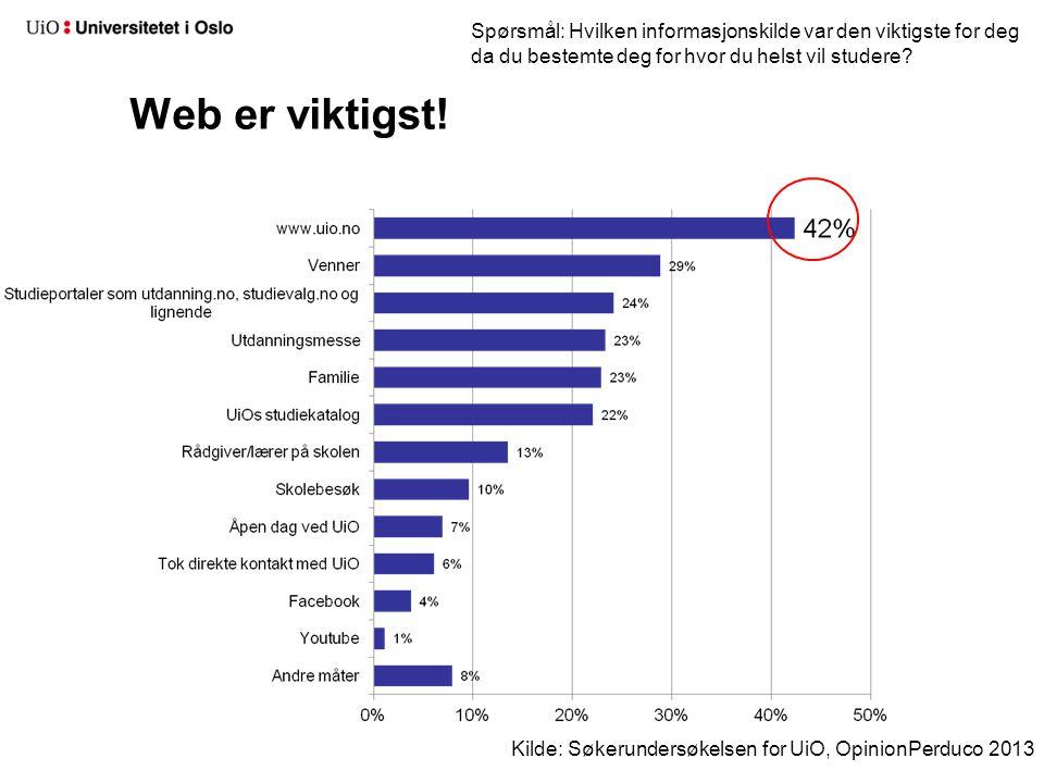 Web er viktigst! Kilde: Søkerundersøkelsen for UiO, OpinionPerduco 2013 Spørsmål: Hvilken informasjonskilde var den viktigste for deg da du bestemte d