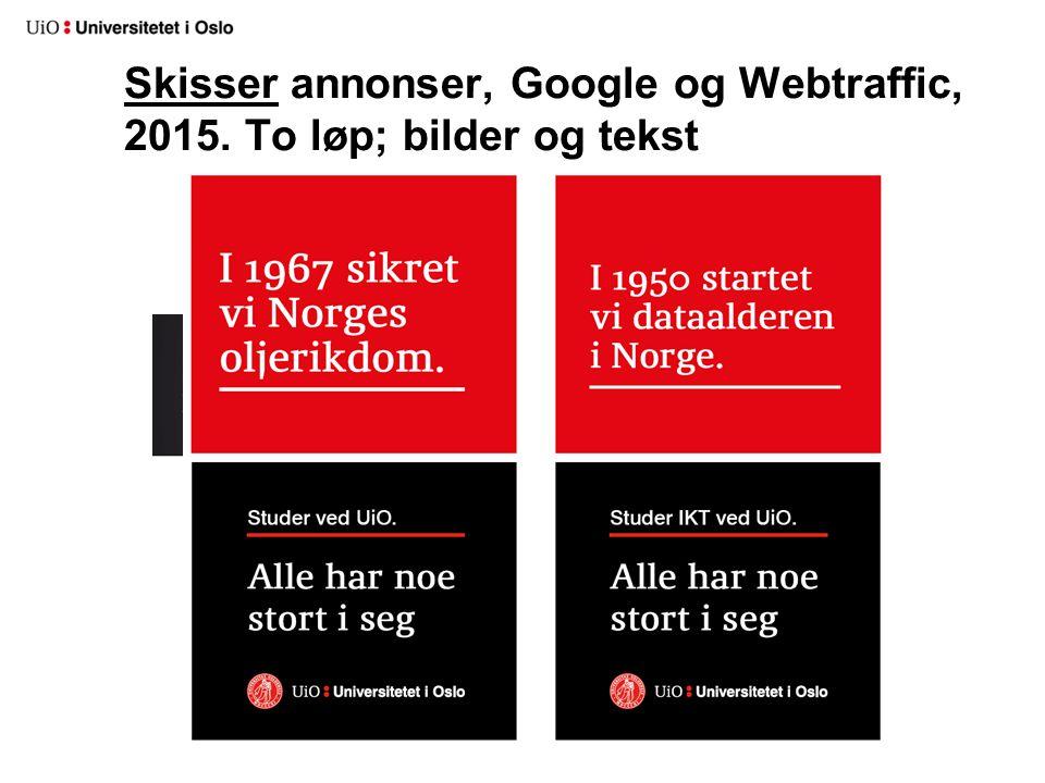 Skisser annonser, Google og Webtraffic, 2015. To løp; bilder og tekst