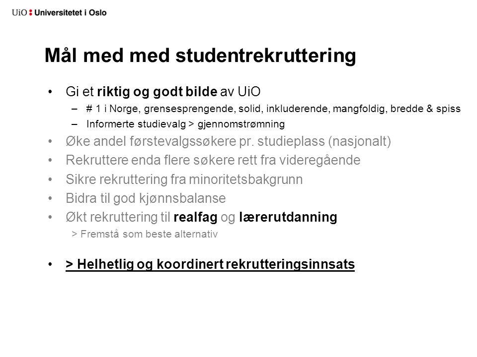 Mål med med studentrekruttering Gi et riktig og godt bilde av UiO –# 1 i Norge, grensesprengende, solid, inkluderende, mangfoldig, bredde & spiss –Inf