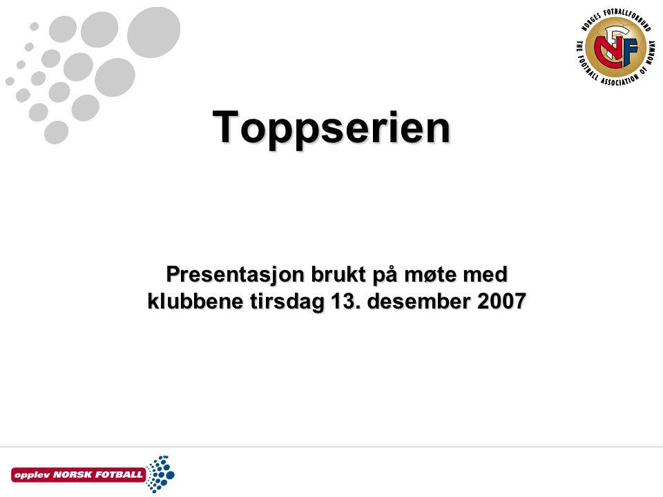 Toppserien Presentasjon brukt på møte med klubbene tirsdag 13. desember 2007