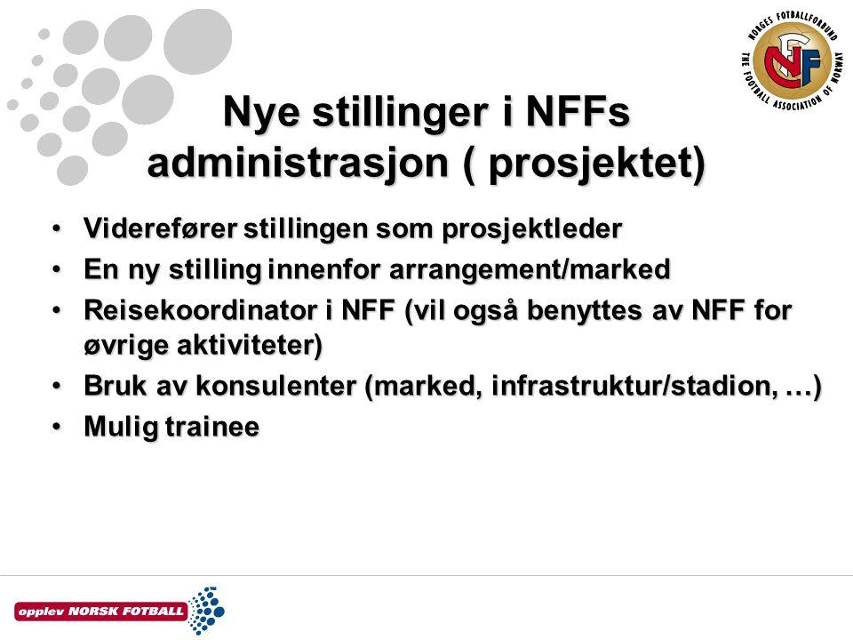 Nye stillinger i NFFs administrasjon ( prosjektet) Viderefører stillingen som prosjektlederViderefører stillingen som prosjektleder En ny stilling innenfor arrangement/markedEn ny stilling innenfor arrangement/marked Reisekoordinator i NFF (vil også benyttes av NFF for øvrige aktiviteter)Reisekoordinator i NFF (vil også benyttes av NFF for øvrige aktiviteter) Bruk av konsulenter (marked, infrastruktur/stadion, …)Bruk av konsulenter (marked, infrastruktur/stadion, …) Mulig traineeMulig trainee