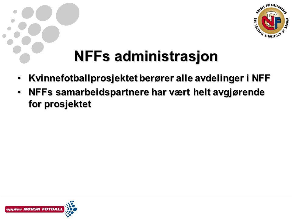 NFFs administrasjon Kvinnefotballprosjektet berører alle avdelinger i NFFKvinnefotballprosjektet berører alle avdelinger i NFF NFFs samarbeidspartnere har vært helt avgjørende for prosjektetNFFs samarbeidspartnere har vært helt avgjørende for prosjektet