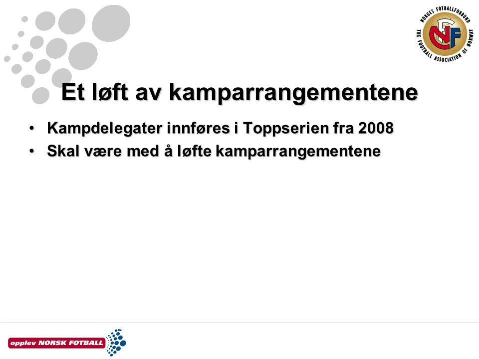 Et løft av kamparrangementene Kampdelegater innføres i Toppserien fra 2008Kampdelegater innføres i Toppserien fra 2008 Skal være med å løfte kamparrangementeneSkal være med å løfte kamparrangementene