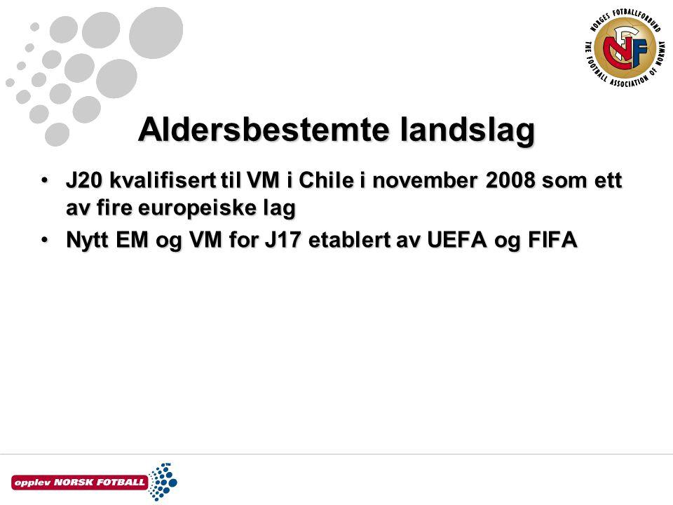 Aldersbestemte landslag J20 kvalifisert til VM i Chile i november 2008 som ett av fire europeiske lagJ20 kvalifisert til VM i Chile i november 2008 som ett av fire europeiske lag Nytt EM og VM for J17 etablert av UEFA og FIFANytt EM og VM for J17 etablert av UEFA og FIFA