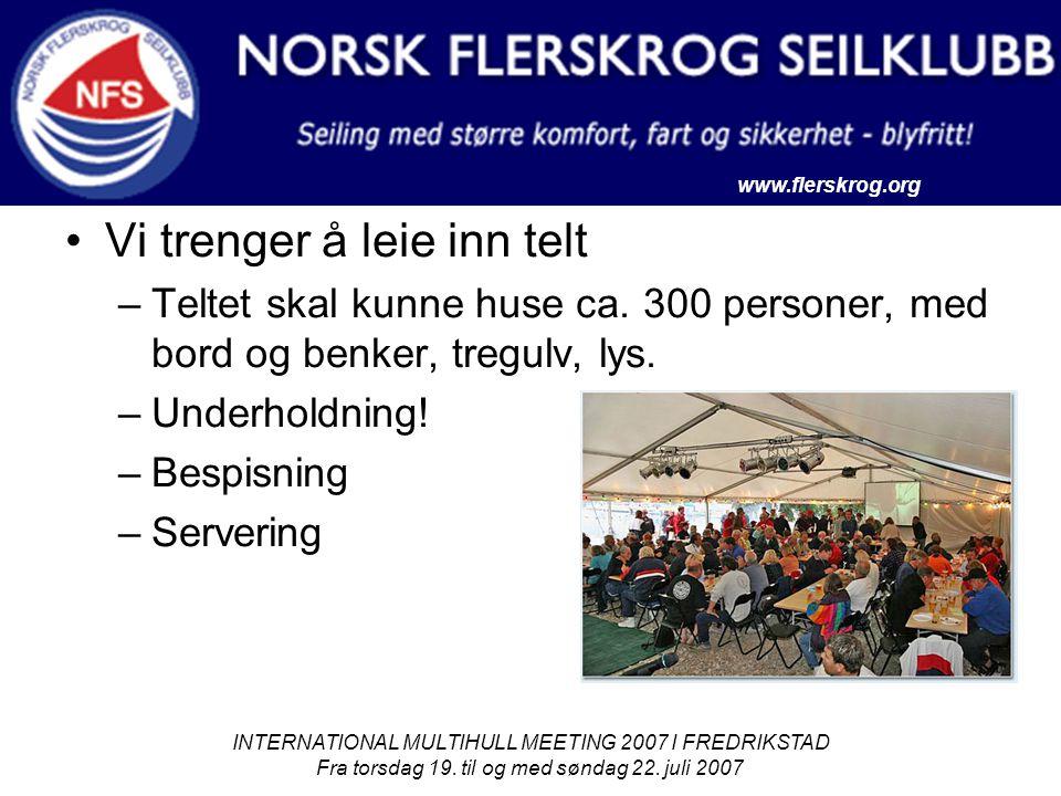 www.flerskrog.org INTERNATIONAL MULTIHULL MEETING 2007 I FREDRIKSTAD Fra torsdag 19. til og med søndag 22. juli 2007 Vi trenger å leie inn telt –Telte