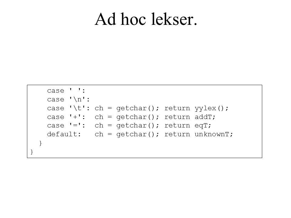 Ad hoc lekser.