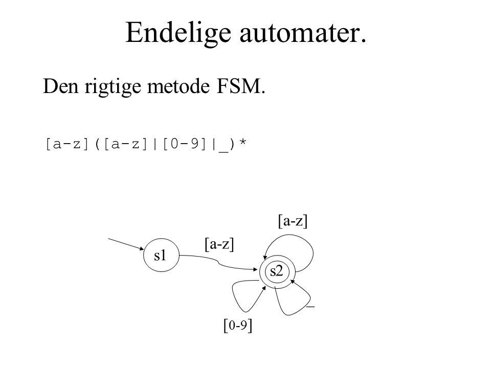 Endelige automater. Den rigtige metode FSM. [a-z]([a-z]|[0-9]|_)* [a-z] s2 [a-z] s1 [ 0-9 ] _