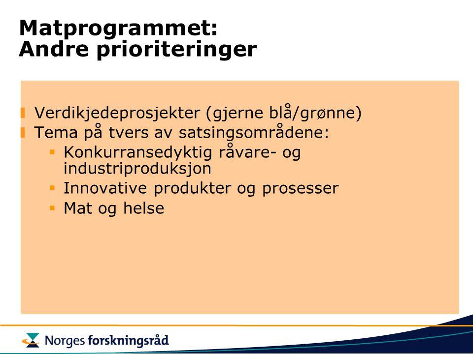 Matprogrammet: Andre prioriteringer Verdikjedeprosjekter (gjerne blå/grønne) Tema på tvers av satsingsområdene:  Konkurransedyktig råvare- og industriproduksjon  Innovative produkter og prosesser  Mat og helse