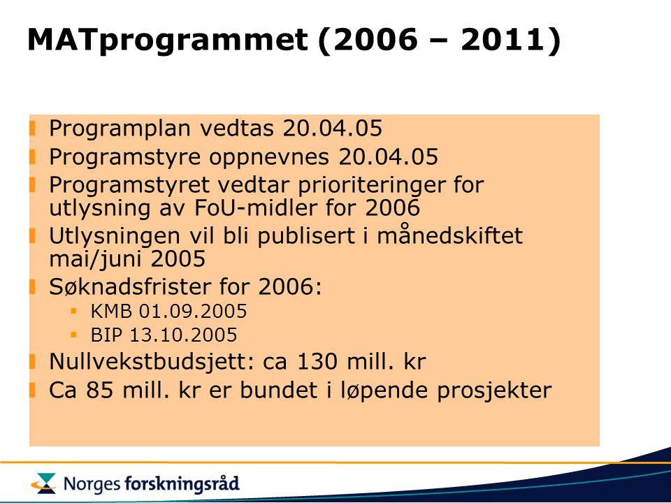 MATprogrammet (2006 – 2011) Programplan vedtas 20.04.05 Programstyre oppnevnes 20.04.05 Programstyret vedtar prioriteringer for utlysning av FoU-midler for 2006 Utlysningen vil bli publisert i månedskiftet mai/juni 2005 Søknadsfrister for 2006:  KMB 01.09.2005  BIP 13.10.2005 Nullvekstbudsjett: ca 130 mill.