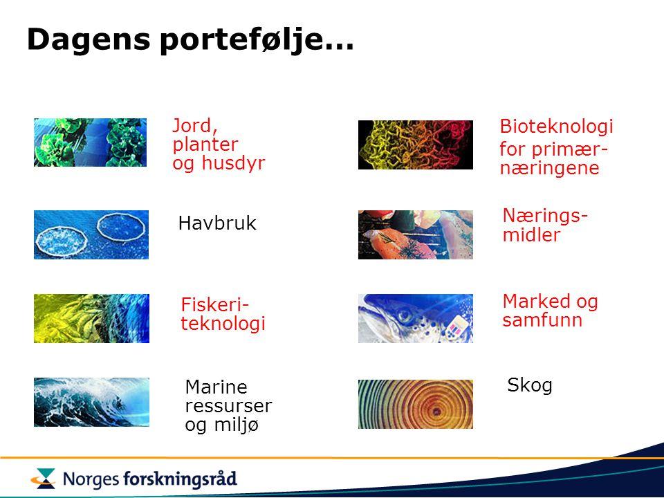 Dagens portefølje… Bioteknologi for primær- næringene Jord, planter og husdyr Nærings- midler Skog Marked og samfunn Havbruk Fiskeri- teknologi Marine ressurser og miljø