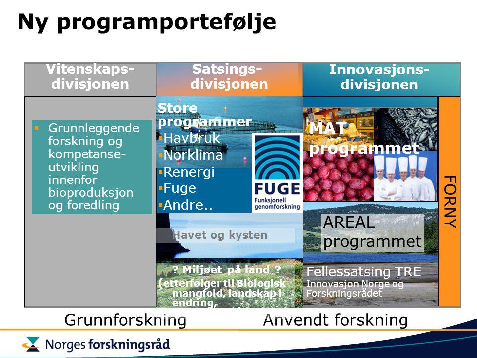 Ny programportefølje Innovasjons- divisjonen AREAL programmet MAT programmet FORNY Fellessatsing TRE Innovasjon Norge og Forskningsrådet Vitenskaps- d