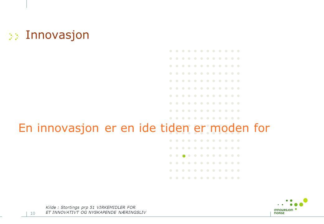 10 Innovasjon En innovasjon er en ide tiden er moden for Kilde : Stortings prp 51 VIRKEMIDLER FOR ET INNOVATIVT OG NYSKAPENDE NÆRINGSLIV